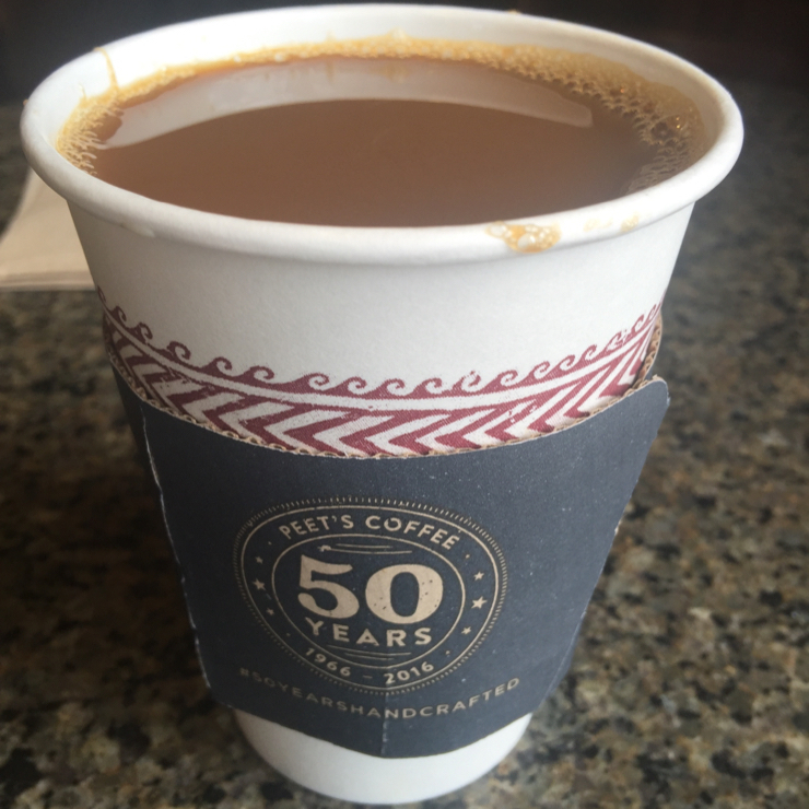 Vegan user review of Peet's Coffee & Tea in Cupertino. Gaia organic blend coffee with soymilk