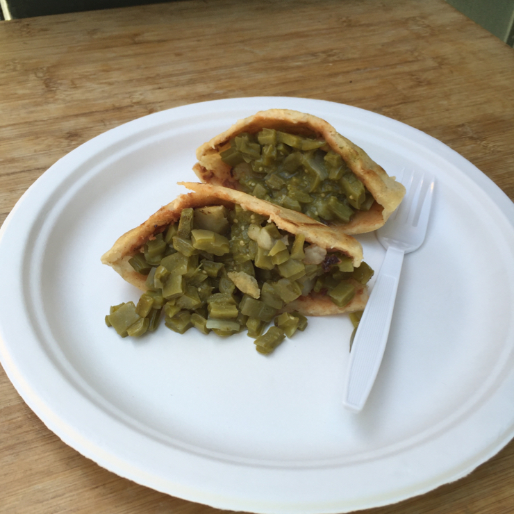 Vegan user review of Cafe Campesino in Santa Cruz. These cactus (nopales) gorditas are small but packed with flavor. This kiosk offers several other vegan lite bites. Sidewalk seating. #mexican #gorditas #snack