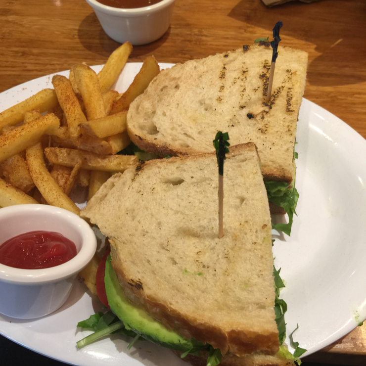 Vegan user review of Veggie Grill in Mountain View. #tblt #tempeh #sandwich #avocado #veganbacon #cilantrofree with #fries
