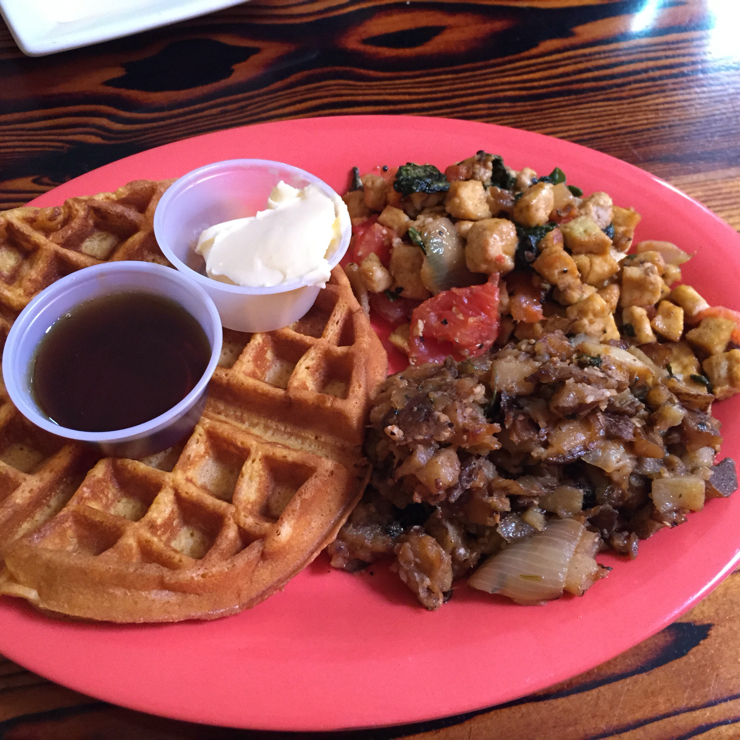 Vegan user review of Souley Vegan in Oakland. This place was recently featured on Diners, Drive-ins and Dives on The Food Network. #waffles #brunch
