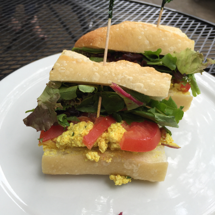 Vegan user review of Delta of Venus in Davis. Curry tofu on sourdough bread. I had high hopes for the sandwich but it fell short. Flavors were good, but not super exciting. The bread was cold. #lunch