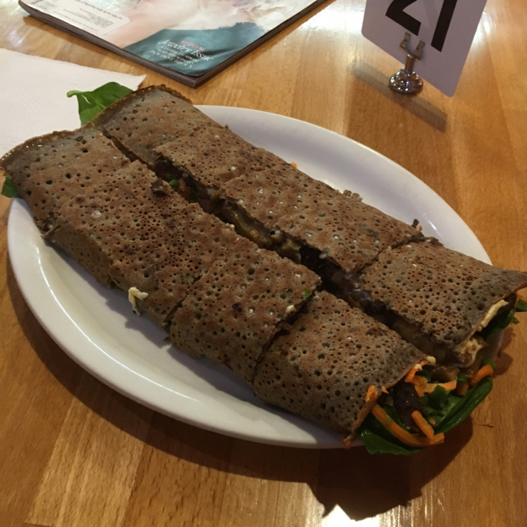 Vegan user review of Delicious Crepes Bistro in Santa Clara. Vegan crepe