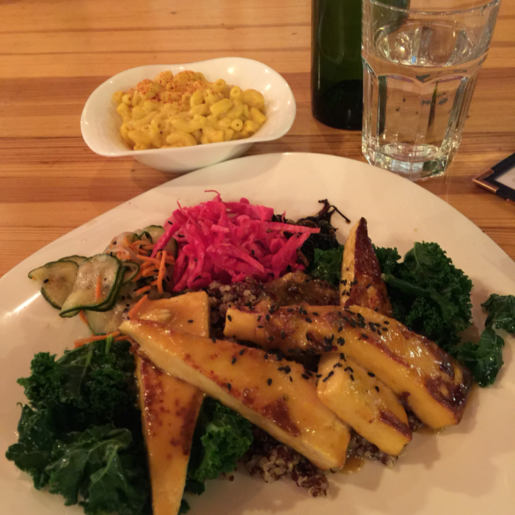 Vegan user review of WaterCourse Foods in Denver. Macro plate (miso glazed tofu) with a side of vegan mac n cheese #macro #tofu #mac n cheese
