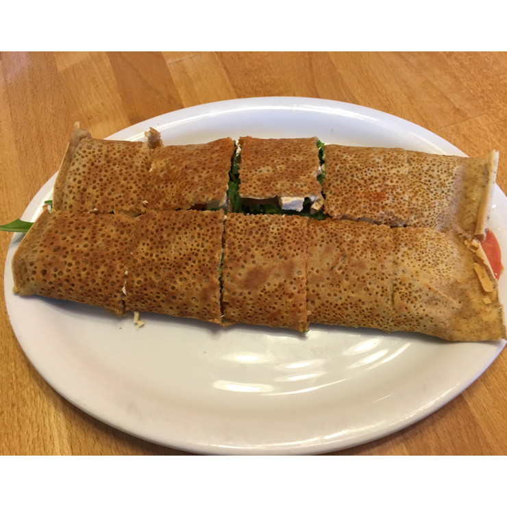 Vegan user review of Delicious Crepes Bistro in Santa Clara. Spicy Arugula Crepe - yummy!!
