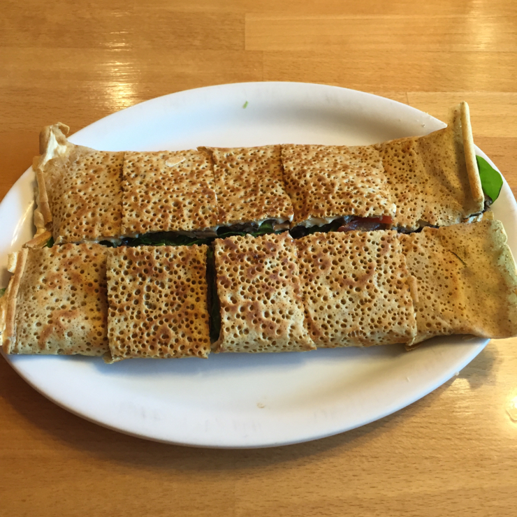 Vegan user review of Delicious Crepes Bistro in Santa Clara. Savory crepe filled with spinach and cheese. It was yummy. #food #dinner #restaurant