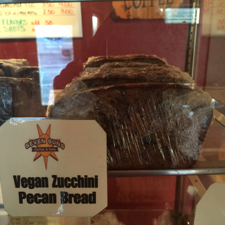 Vegan user review of Seven Suns Coffee & Cafe in Mt Shasta. #Zucchini bread #coffee shop #cafe  #food #breakfast