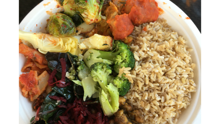 Vegan user review of Whole Foods Market in Cupertino. Seitan in buffalo sauce and Kimchi flavored Brussels sprouts. #vegan at hot bar and salad bar.