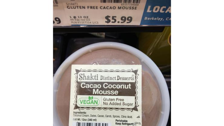 Vegan user review of Whole Foods Market in Los Altos. Cacao coconut mousse #mousse #dessert  #dessert #mousse