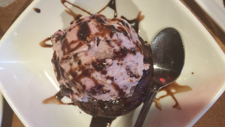 Vegan user review of Merit Vegetarian Restaurant in Sunnyvale. Chocolate brownie with cherry ice cream #ice_cream #dish #food #dessert #dinner #restaurant