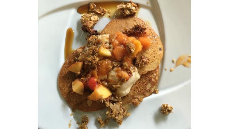 Vegan user review of Millennium in Oakland. Nectarine pancakes! #breakfast #lunch #restaurant #restaurant #lunch #breakfast