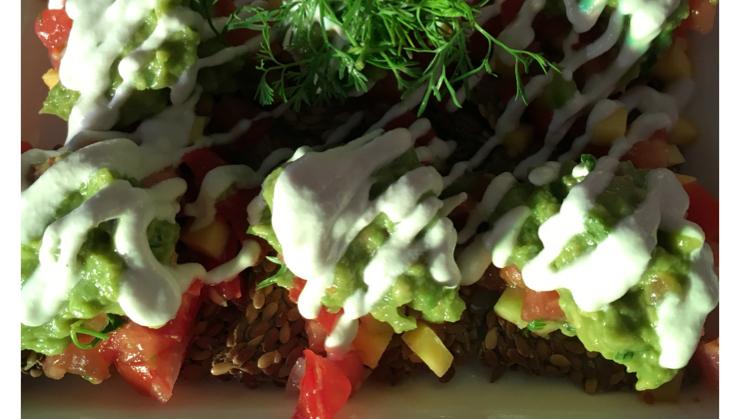 Vegan user review of Vegetarian House in San Jose. Raw Flax Seed Crackers Nachos
