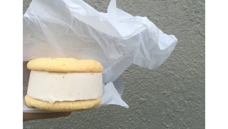 Vegan user review of Curbside Creamery in Oakland. Cinnamon ice cream on snicker doodles