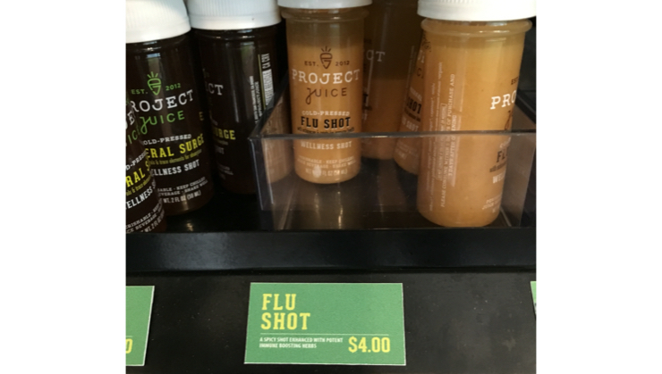 Vegan user review of Project Juice - Test Kitchen in San Francisco. The only flu shot I would ever take! Although we were just window shopping here. :)