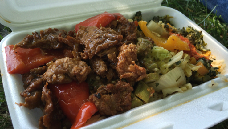 Vegan user review of Ital Vital Restaurant in Scarborough. Awesome vegan Rasta food to go. Two container sizes to choose from with choice of beans and veggies. Watch out for the extra spicy hot sauce. This is a small. I had the rice, cabbage, collard greens and spiced soy nuggets #lunch #restaurant #rastafarian