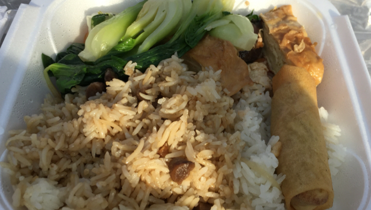 Vegan user review of Cham Shan Temple in Niagara Falls. Stop by and visit the 1000 Buddha temple on your way to Niagara Falls. They serve food (Buddhist Chinese) on Saturday and Sunday. My meal was rice, Bok choy, tofu skins and an egg roll.