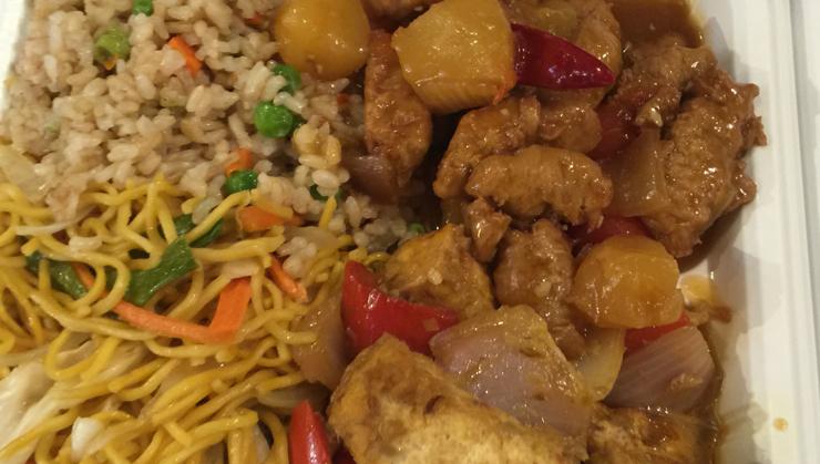 Vegan user review of Loving Hut in Santa Clara. Fried rice, chow mein orange chicken and lemongrass tofu #food #dinner