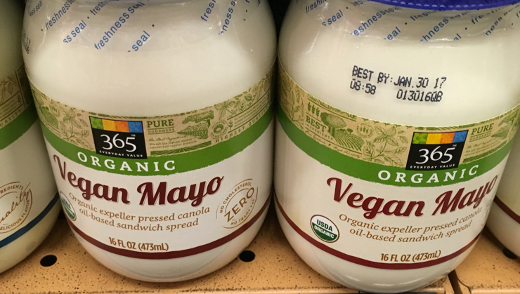 Vegan user review of Whole Foods Market in Los Altos. Everybody is making vegan mayo, this one is canola oil and soy based.