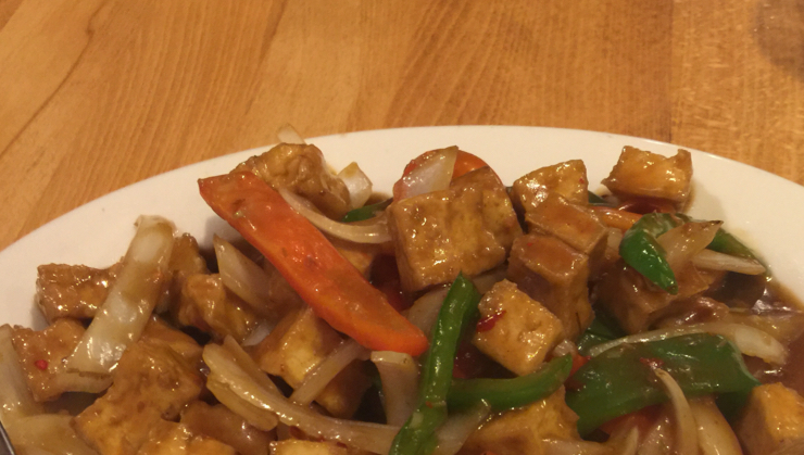 Vegan user review of Merit Vegetarian Restaurant in Sunnyvale. Lemongrass and tofu will onions and bell pepper #dinner #restaurant