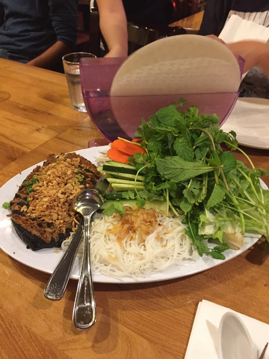 Vegan user review of Merit Vegetarian Restaurant in Sunnyvale. Build your own rice roll with veggie fish, vermicelli and fresh mint. #dinner