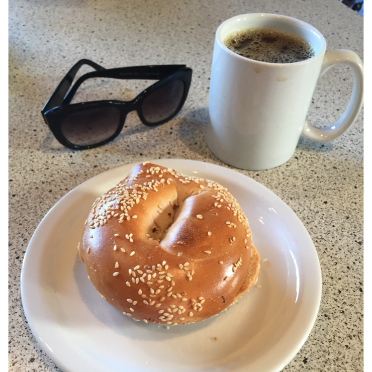 Vegan user review of Dana Street Roasting Company in Mountain View. Plain toasted sesame bagel with house blend.