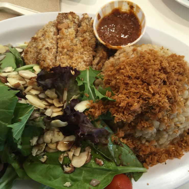 Vegan user review of Happiness Cafe in San Jose. Crispy spy patty and rice with some salad. #food #lunch #restaurant
