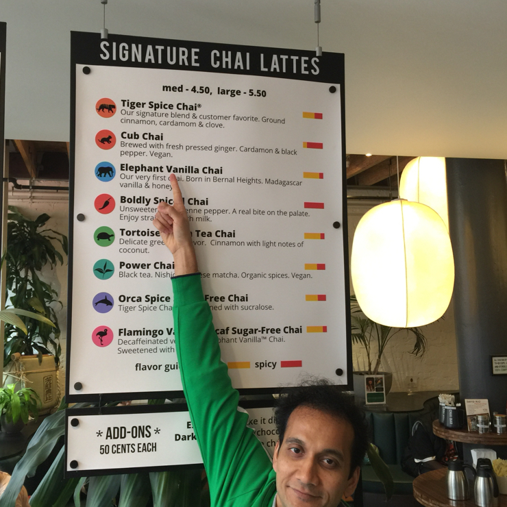 Vegan user review of Chai Bar by David Rio in San Francisco. Vegan chai at the Chai ☕️ Bar on Market. Have to try it the next time but at least it's to good to know that it's available in this location. #food #restaurant