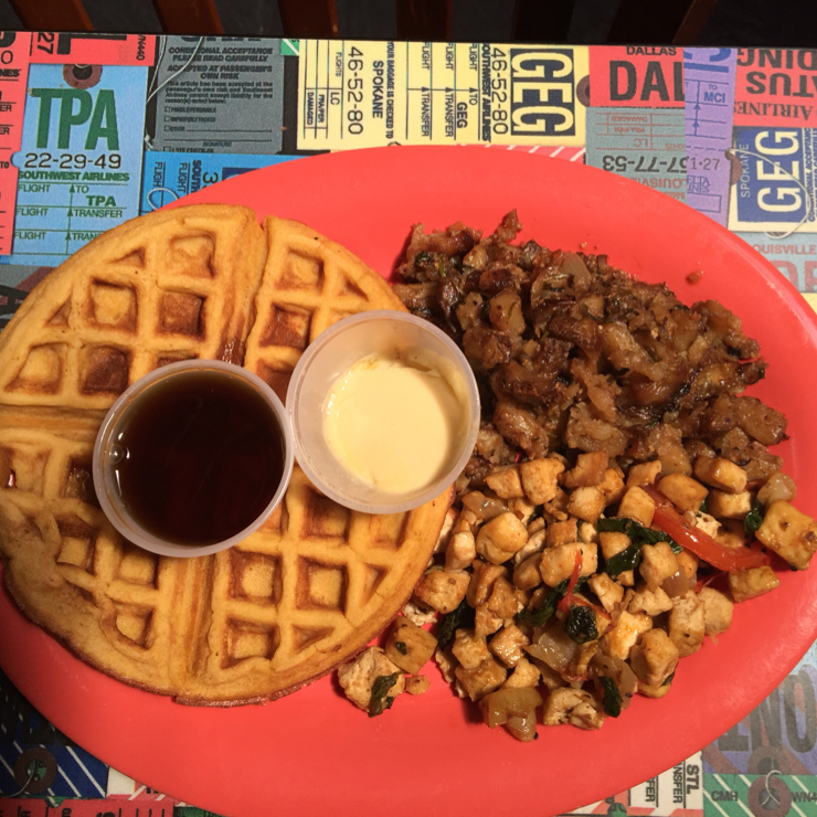 Vegan user review of Souley Vegan in Oakland. Waffles with potatoes fries 🍟 for a nice 👍 Sunday brunch. #lunch #food #restaurant