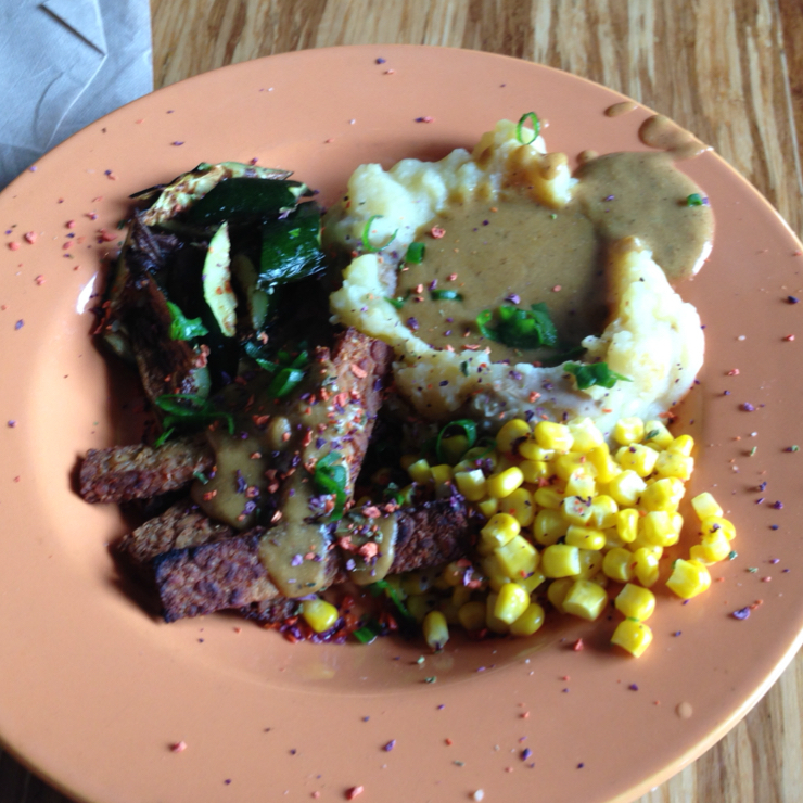 Vegan user review of Papa G's Vegan Organic Deli in Portland. Southern inspired seasoned tempeh strips with mashed potatoes and corn 🌽 #food #lunch #restaurant