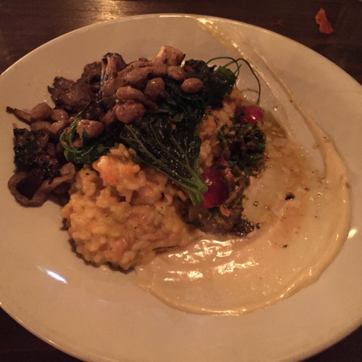 Vegan user review of Millennium in Oakland. Risotto with roasted mushrooms, greens, truffle aioli, beans, and tomatoes.