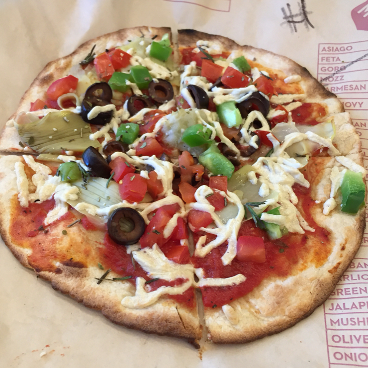 Vegan user review of MOD Pizza in San Jose. Veggie pizza with Daiya cheese