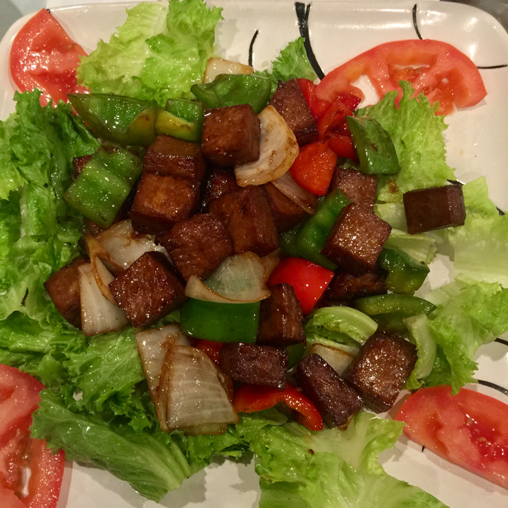 Vegan user review of DiLac Vegetarian Cuisine in San Jose. Soy beef chunks on a bed of lettuce