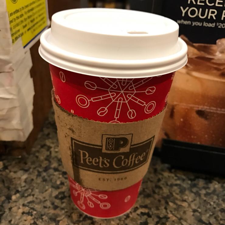 Vegan user review of Peet's Coffee in San Carlos. Freshly brewed coffee ☕️ with a little bit of soymilk