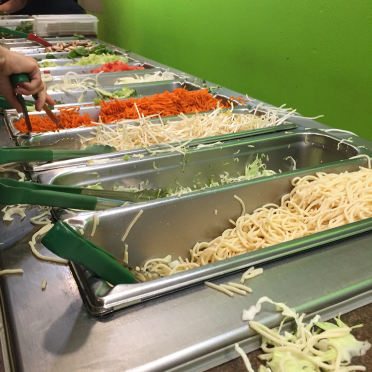 Vegan user review of Mongolian BBQ in Santa Clara. Noodles and veggie bar. Fill your plate with your favorite veggies and then take it to the grill to get cooked.