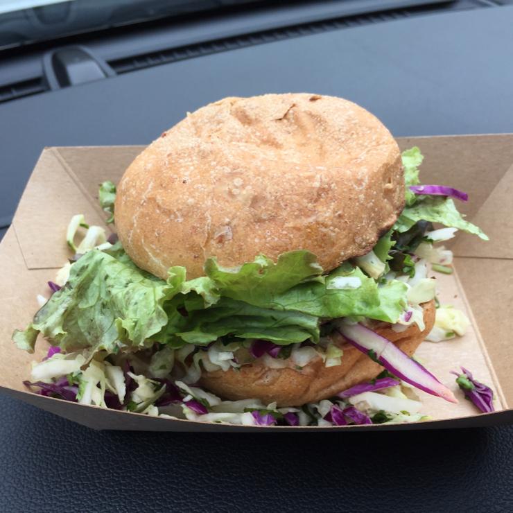 Vegan user review of Papaya's Natural Foods & Cafe in Kapa`a. Taro vegan burger