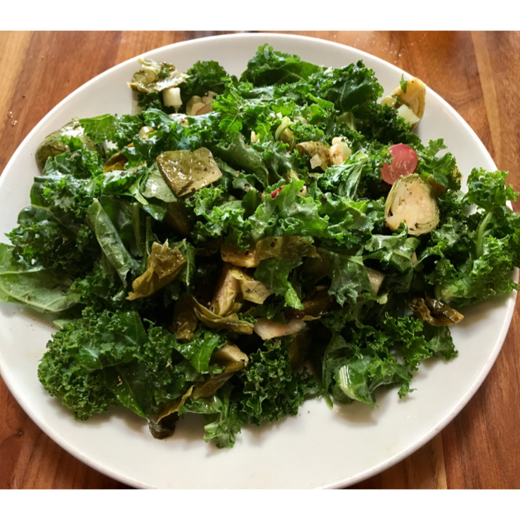 Vegan user review of Patxi's Pizza San Carlos in San Carlos. Kale and Brussels sprouts salad - ask for no bacon and it magically becomes vegan!