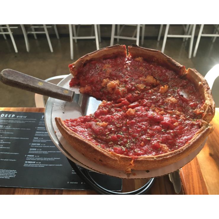 """Vegan user review of Patxi's Pizza San Carlos in San Carlos. Deep dish 10"""" vegan pizza - yum"""