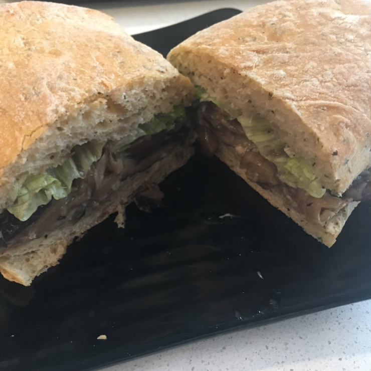 Vegan user review of Copper Branch - Tour KPMG in Montréal. Galaxy burger (mushrooms, caramelized onions and Swiss 'cheese'). :))