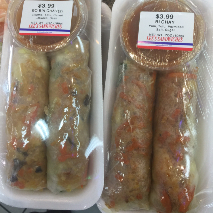 Vegan user review of Lee's Sandwiches in Milpitas. More yummy foods. Spring rolls with various ingredients in them.