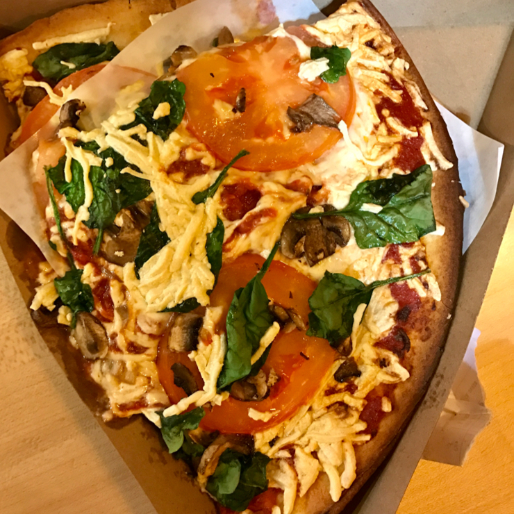 Vegan user review of Whole Foods Market in Cupertino. One of the freshest vegan pizza 🍕 that I've had. Made from rice flour with daiya cheese spinach and mushroom. 2 huge slices for $6.  If you don't see the vegan pizza in the pizza by the slice counter, ask them to make it for you.  😊 🎉