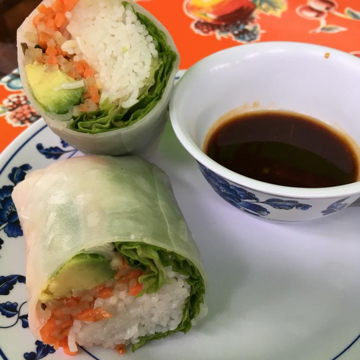 Vegan user review of Charlie Hong Kong in Santa Cruz. Salad Wrap