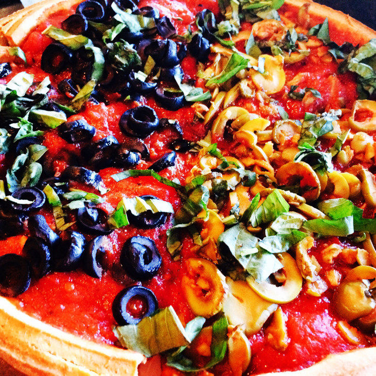 Vegan user review of Patxi's Pizza Palo Alto in Palo Alto. Vegan pizza with daiya cheese tomatoes, peppers, spinach and olives.