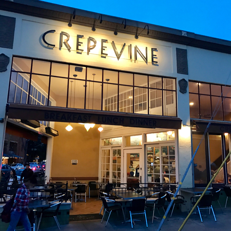 Vegan user review of Crepevine Restaurant in Oakland.