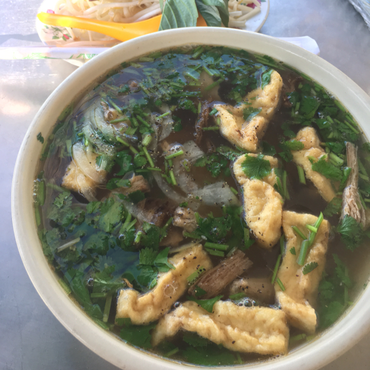 Vegan user review of Tofoo Com Chay in San Jose. Pho. Good has herbs but would have liked vegetables in it.