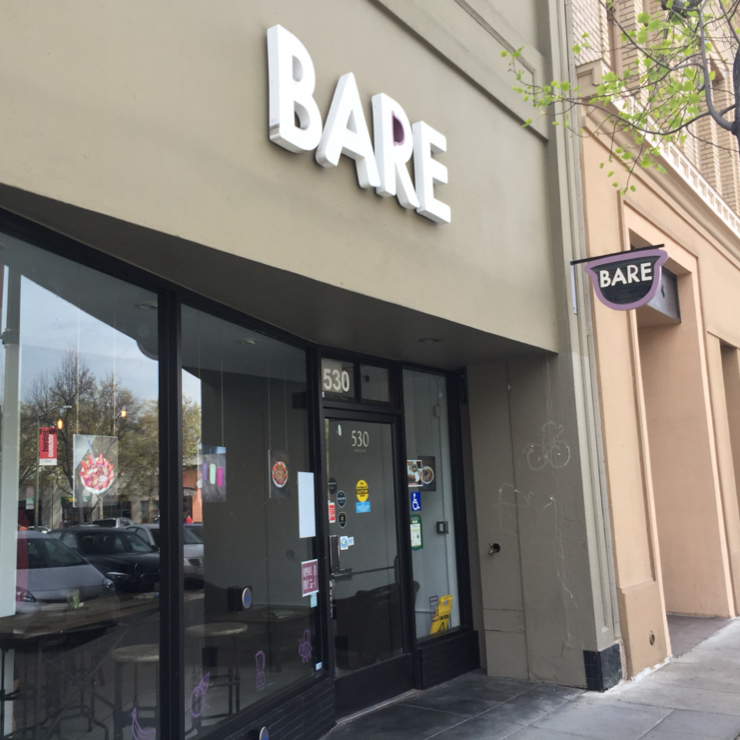Vegan user review of Bare Bowls in Palo Alto.