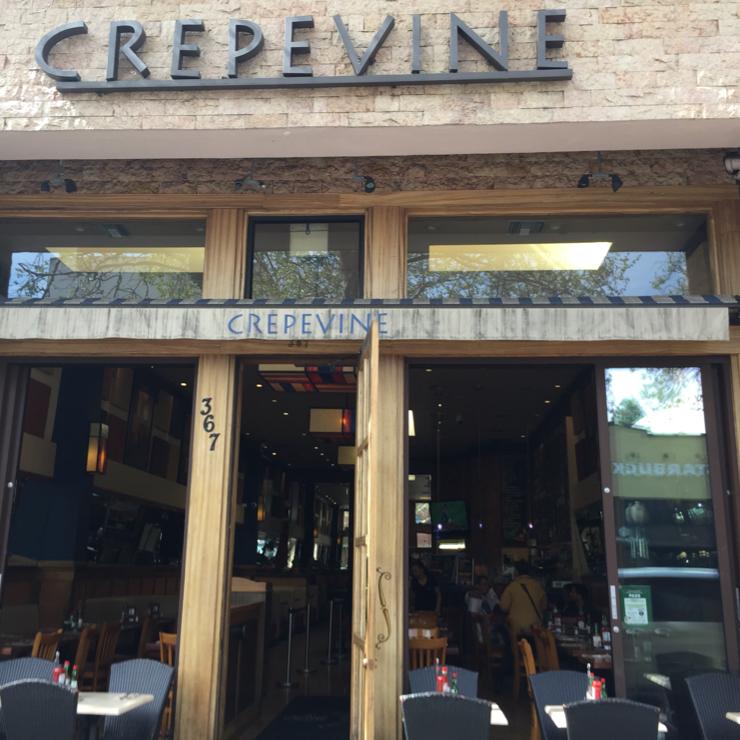 Vegan user review of Crepevine Restaurant in Palo Alto.