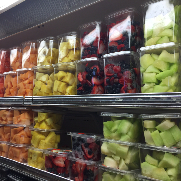 Vegan user review of Mollie Stone's Markets in Palo Alto. Cut fruit ready to go.