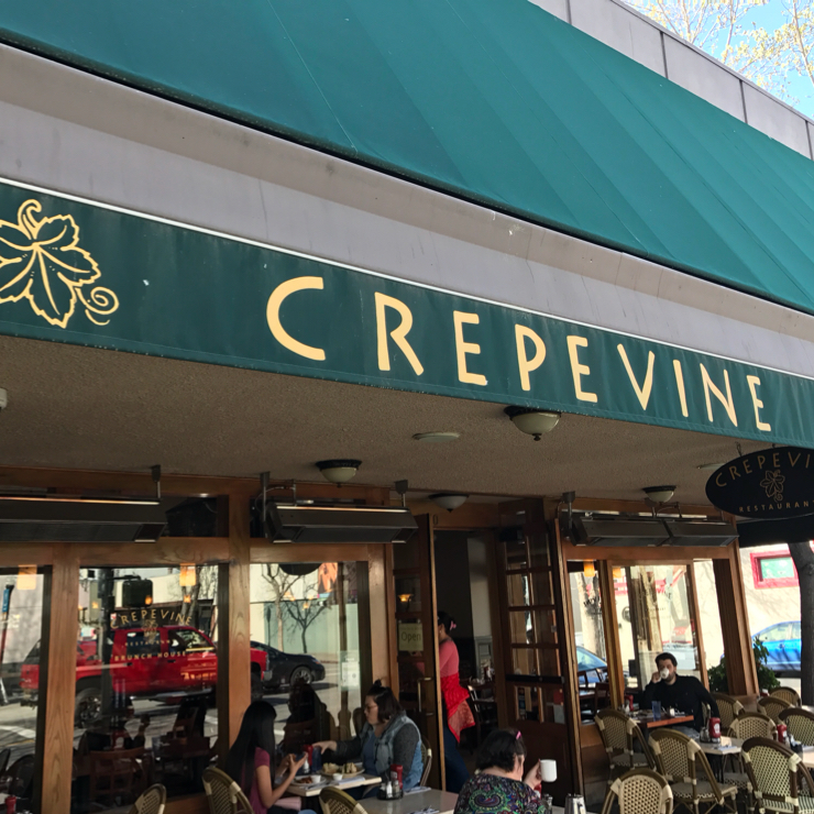 Vegan user review of Crepevine Restaurant in Mountain View.
