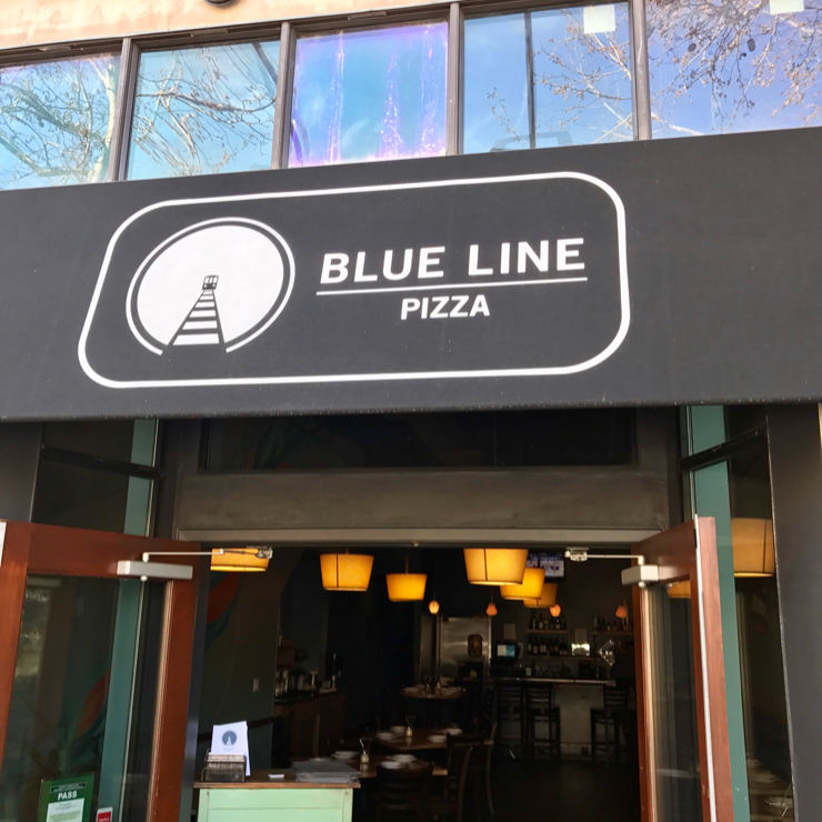Vegan user review of Blue Line Pizza in Mountain View.