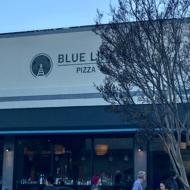 Vegan user review of Blue Line Pizza in San Carlos.