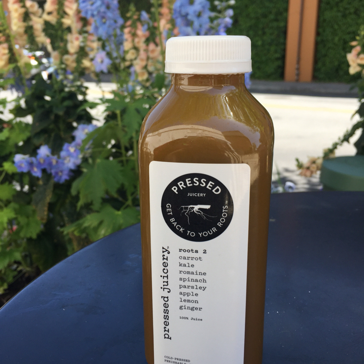 Vegan user review of Pressed Juicery in Palo Alto. Roots 2: carrot, kale, romaine, spinach, parsley, apple, lemon.